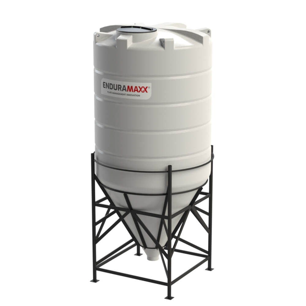 1752166002-F 8000 Litre Cone Tank With Frame - Natural