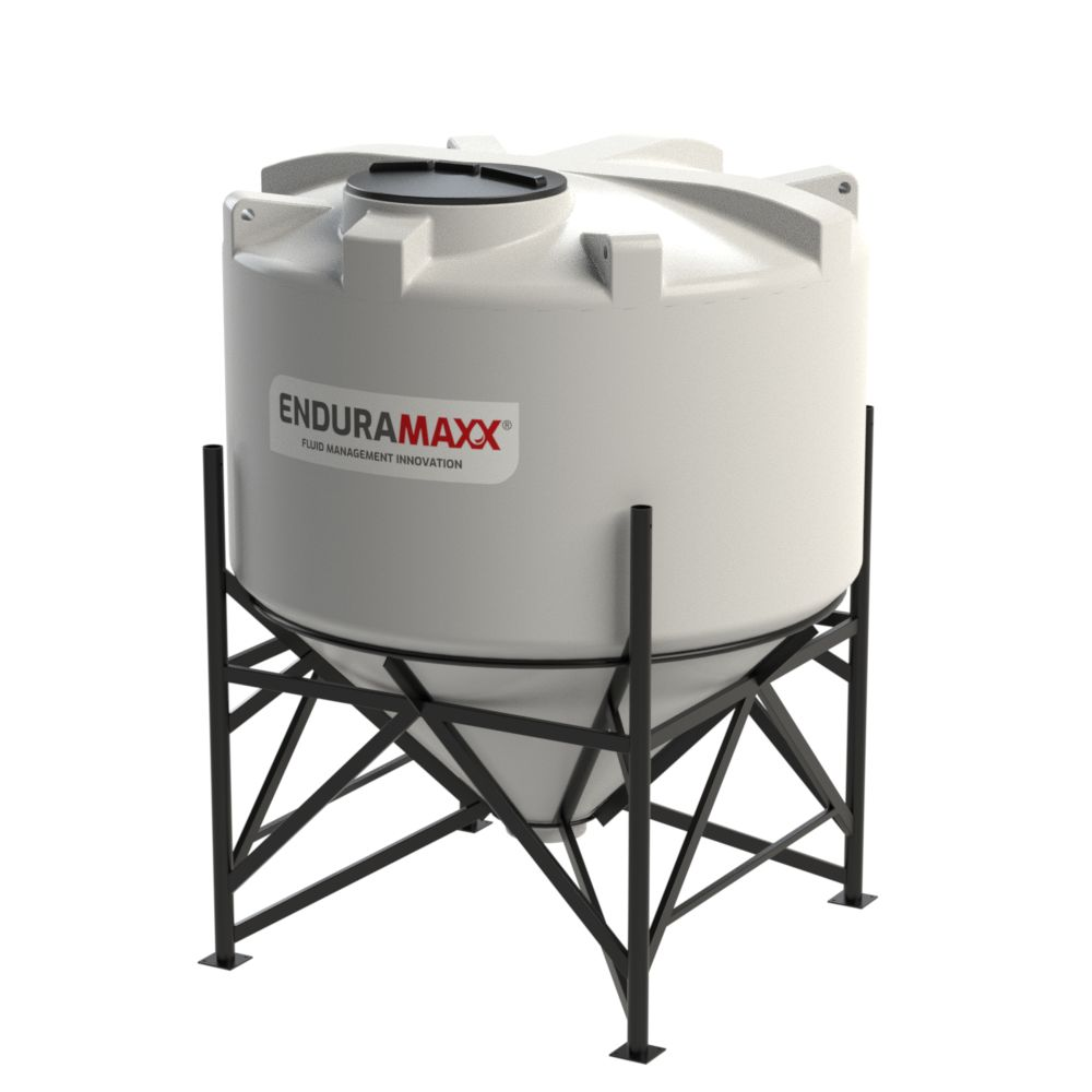 1752074502-F 4000 Litre Cone Tank With Frame - Natural