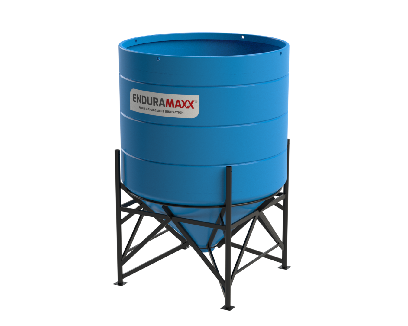 4000 Litre Open Top Cone Tank with Frame - 45° Cone Blue