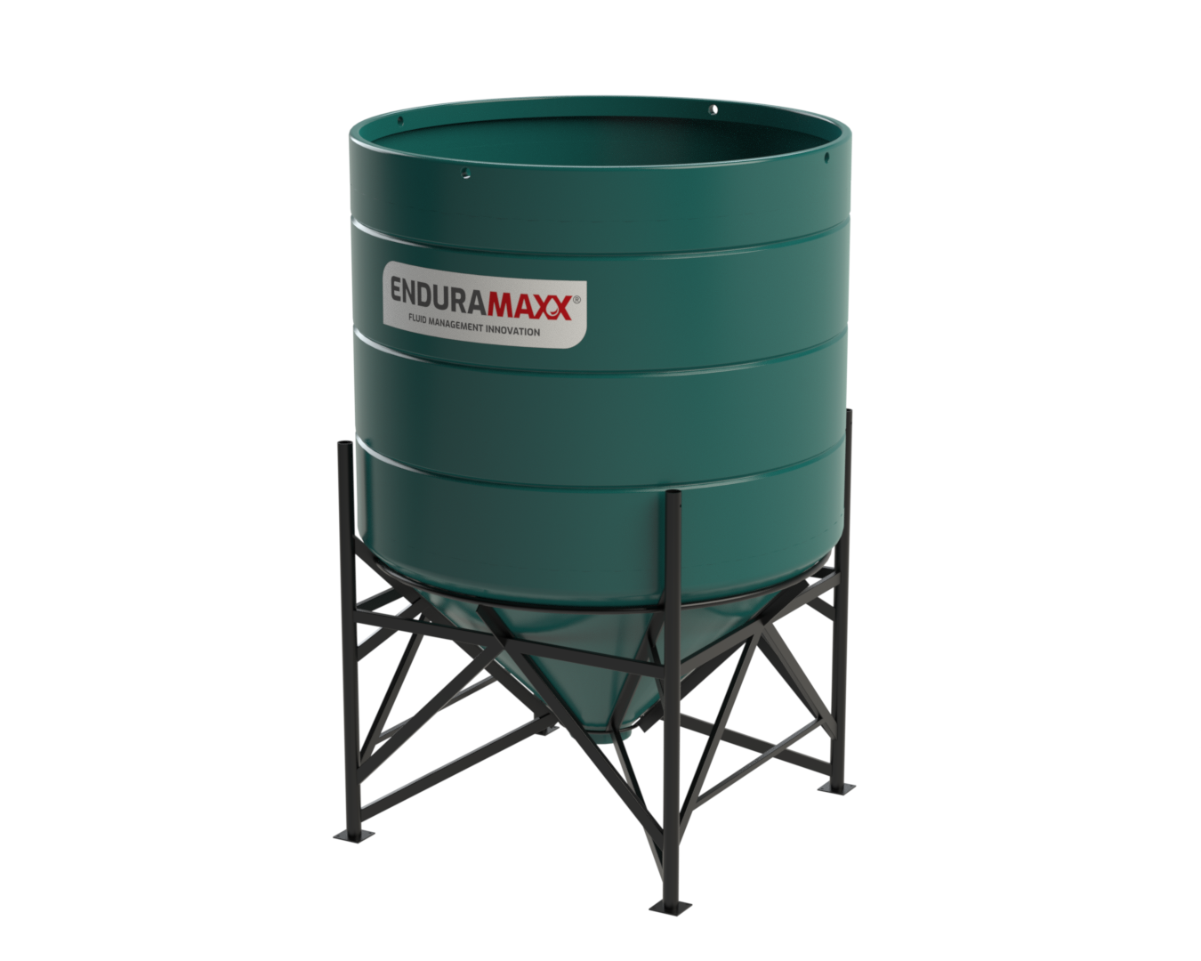 4000 Litre Open Top Cone Tank with Frame - 45° Conedark Green